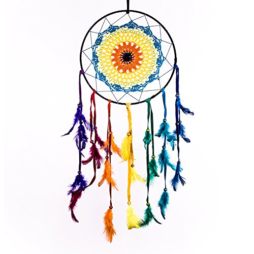 Caught Dreams Dream Catcher ~ Rainbow Crochet, ,Gypsy, Hippie