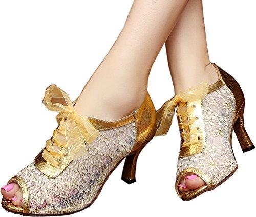 Abby Donna Latino Tango Cha-cha Con Tacco Medio A Punta Di Pizzo, Scarpe Da Ballo In Rete Oro