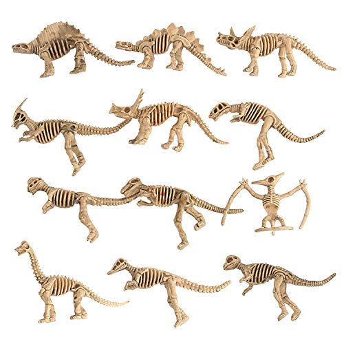 - Warmtree Simulated Dinosaur Skeleton Model Realistic Figures Toys Plastic Action Figure for Kids' Collection Science Educational Toy, Set of 12