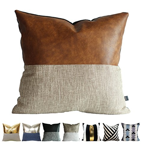 Modern Faux Leather Sofa (Kdays Halftan Pillow Cover Designer Modern Throw Pillow Cover Decorative Faux Leather Pillow Cover Handmade Cushion Cover 18x18 Inches)