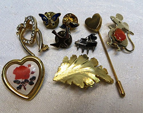 [Excellent Lot Fine Estate Jewelry Art Costume Brooches Pins Some Vintage 9 pcs] (Vintage Costume Jewelry Lot)