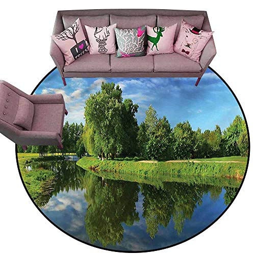 Bedroom Living Room Area Rug Landscape,Lake Trees Grass Nature Diameter 72
