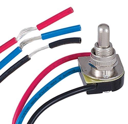 B&P Lamp 3-Way Nickel Push Canopy Switch