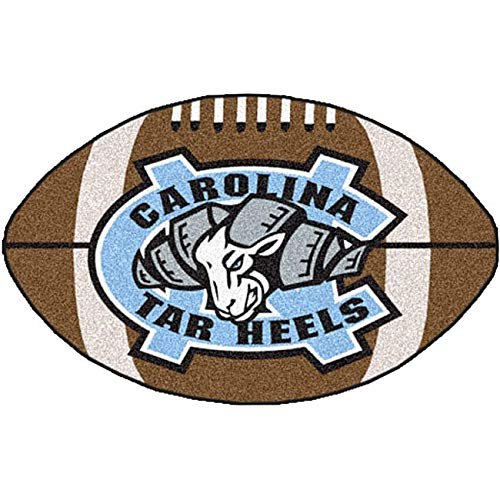 "22""x35"" NCAA Tar Heels Mat Sports Football Shaped Rug Team Logo Printed Area Rug Floor Carpet Bedroom Bath Living Room Mats for Boys Kids Collegiate Team Spirit Fans Gift Non-Skid Backing, Soft Nylon"