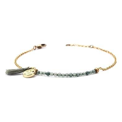 f3f74420f tom+alice Hand-Made Minimalist Bracelet for Women Dainty Chain Link Bracelet  Natural Stone