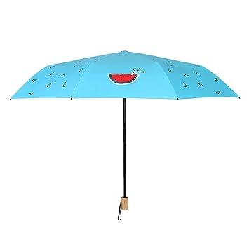 Estilo chino sandía paraguas plástico negro sunscreen paraguas UV mujeres paraguas simple pequeño fresco