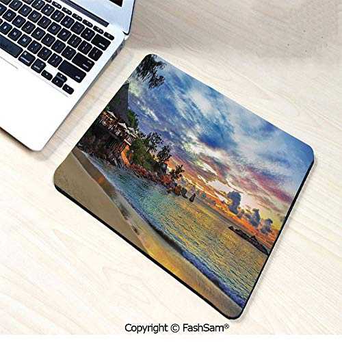 (Desk Mat Mouse Pad Cafe on Tropical Beach at Sunset Hotel Restaurant Luxury Cliff Romance Lagoon Decorative for Office(W7.8xL9.45))