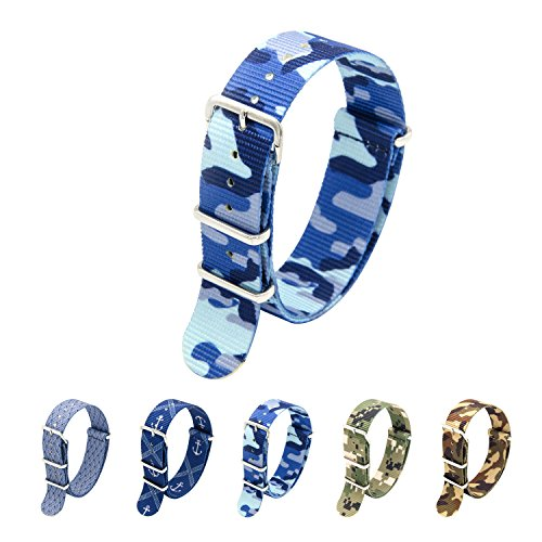 Nato Strap 18mm 20mm 22mm Premium Ballistic Nylon Watch Bands Swiss Zulu Straps Stainless Steel Buckle (Blue Camouflage, 20mm)