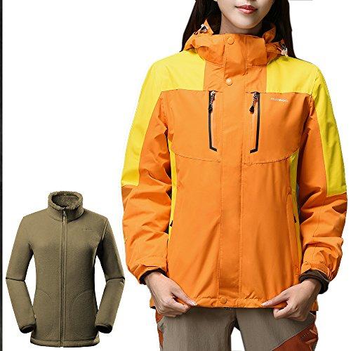 OutdoorMaster Womens' 3-in-1 Ski Jacket - Winter Jacket Set with Fleece Liner Jacket & Hooded Waterproof Shell - for Women (Orange,L)