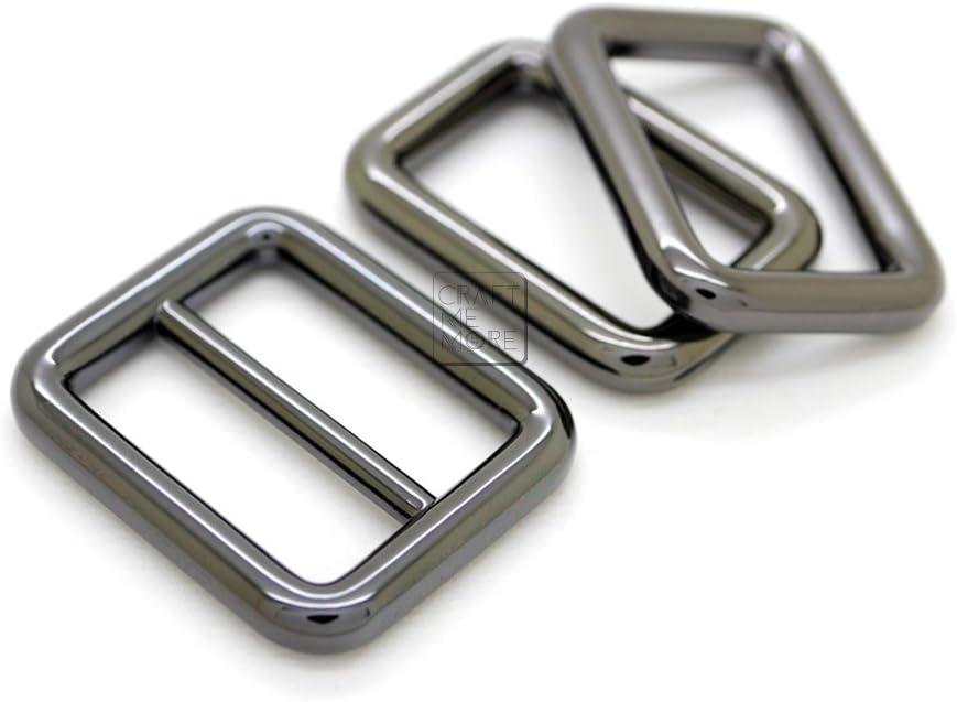 1 inch, Gunmetal CRAFTMEmore 1Set Gunmetal Black Purse Slider and Loops Set 1PC Slide Buckle with 2PCS Rectangular Rings Leather Craft