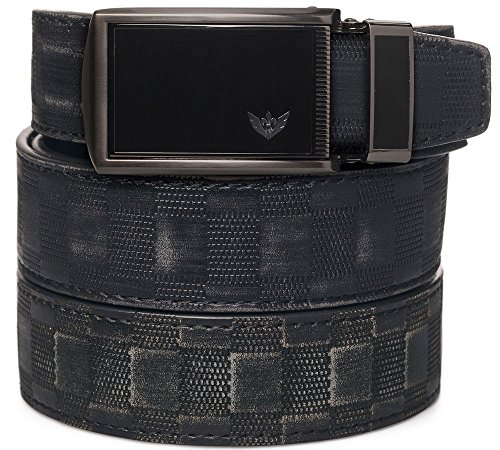 SlideBelt - Winged Black (Distressed Checkered Animal-Friendly Leather with Winged Black (Black Checkered Belt)