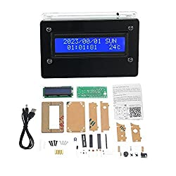 KKmoon 1602 LCD DIY Digital Clock Kit with Acrylic Case Time Temperature Date Week Display 3 Channels Alarm Clock