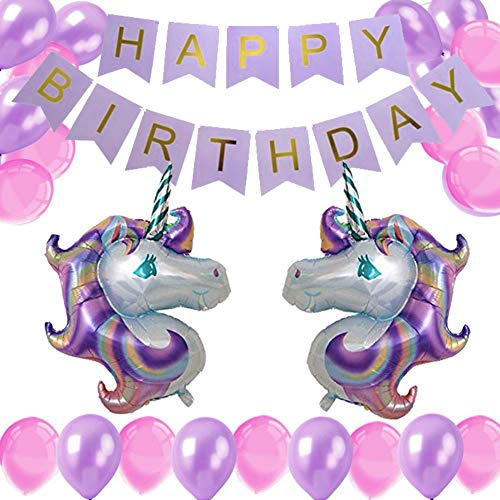Unicorn Girls Birthday Party Decorations Value Pack – 1 Happy Birthday Banner, 2 Unicorn Foil Balloons, 40 Purple & Pink Latex Balloons – Unicorn Themed Party Supplies Bundle by Instant Party, 43 pcs. for $<!--$8.99-->