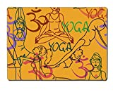 Liili Natural Rubber Placemat IMAGE ID: 23499182 Seamless pattern of yoga poses and Om sign