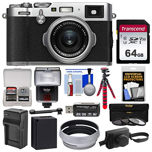 Fujifilm X100F Wi-Fi Digital Camera (Silver) with 64GB Card + Battery & Charger + Leather Case + 3 Filters + Flex Tripod + Flash + Kit Charger Leather Case Lcd