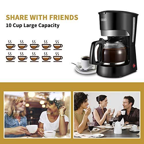 Gevi 10-Cup Coffee Maker, Switch Coffee Machine, Drip Coffee Pot Brewer with Reusable Filter, Hot Plate and Glass Carafe for Home and Office, Black