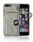 iPhone 8 Plus / 7 Plus ,5.5'' Key Chain [4 Card Slot] [Slim Fit] Crocodile Leather Front Shield Screen Back Bumper Magnetic Holder Purse Diary Cover Apple iPhone 8+ / 7+ Charm Wallet Case (Grey)