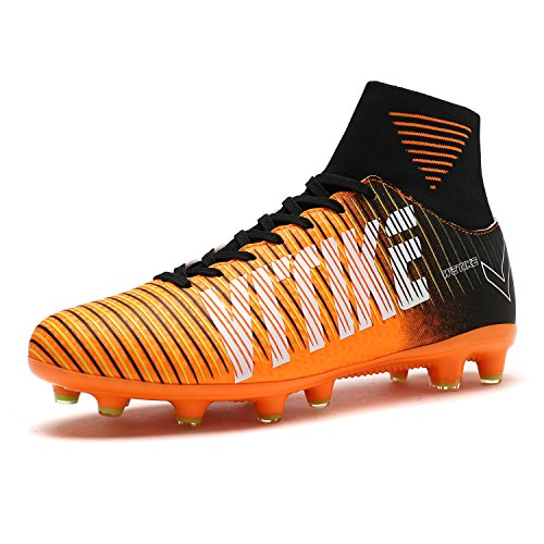 WETIKE Kids Soccer Cleats for Boys Youth Cleats Football Boots with High Ankle Sock Cleats for Soccer Athletic Running Performance Shock Buffer Foot Care(Little Kid/Big Kid) Vibrant Orange
