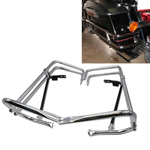 Chrome motorcycle Rear Heavy duty Saddlebag Bracket Guard Bars Rail For Harley HD Touring Street Glide FLHX EFI FLHXI 1997 1998 1999 2000 2001 2002 2003 2004 2005 2006 2007 2008 - Classic Guard Rail