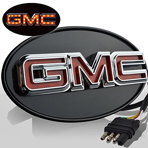 nsed LED Light Trailer Towing GMC Logo Hitch Cover Receiver Chrome 6061 (Gmc Hitch Brake Light)