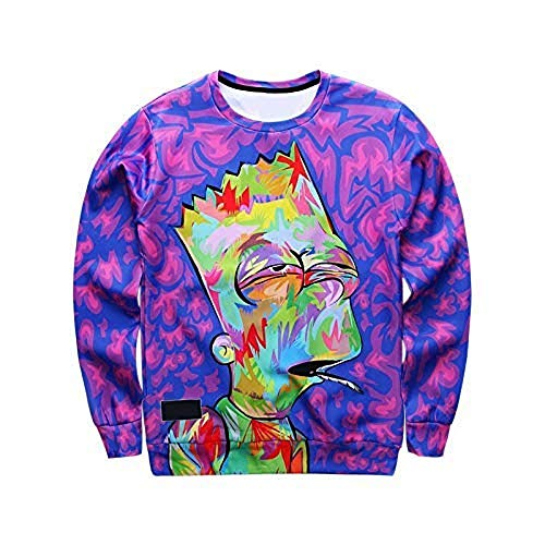 Stoned Bart Simpson Purple Sweater 3D Print Unisex Men and Women Character Smoking a Purple Joint Weed Shirt