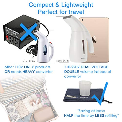 Beautiplove Travel Clothes Steamer Dual Voltage Garment Steamer Portable Fabric Steamer for Clothes with Automatic Shut-Off Safety 2018 Design, Travel Pouch Included by Beautiplove (Image #2)