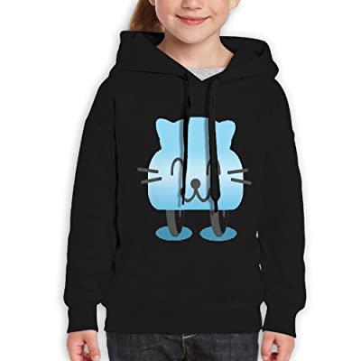 GLSEY Blue Cat Smile Youth Soft Casual Long-Sleeved Hoodies Sweatshirts
