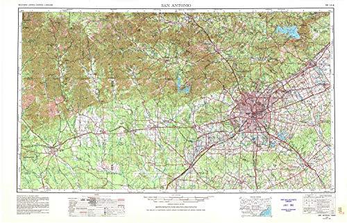 (YellowMaps San Antonio TX topo map, 1:250000 Scale, 1 X 2 Degree, Historical, 1954, Updated 1980, 22 x 34.3 in - Tyvek)