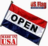 US Flag Factory – 3'x5′ Nylon OPEN Flag (Sewn Stripes) Outdoor Message Flag – Commercial Grade Business OPEN Flag – UV Fade Resistant – Made in USA – Premium Quality (OPEN)
