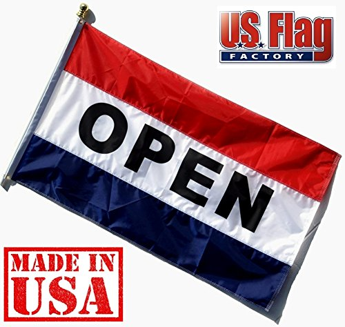 US Flag Factory - 3'x5' Nylon OPEN Flag (Sewn Stripes) Outdoor Message Flag - Commercial Grade Business OPEN Flag - UV Fade Resistant - Made in USA - Premium Quality (OPEN) (White 3' Letter)