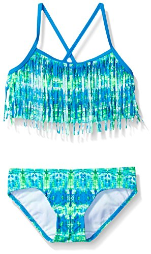 Kanu Surf Toddler Girls' Kayla Fringe Bikini Swimsuit, Blue/Green, 3T