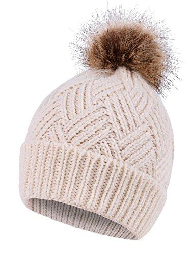 Diamond Knit Hat (Livingston Diamond Weave Knit Faux Fur Pompom Winter Women Beanie, Cream)
