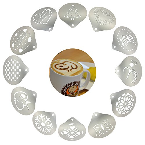 Passionier Barista Coffee Stencils, 12PCS Stainless Steel Coffee Decorating Stencils Template for Latte Cappuccino, Cupcake Cookie Stencils(Small)