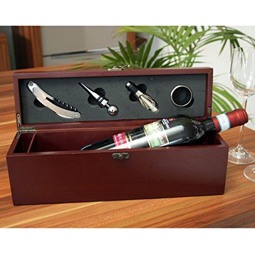 Rotwein Bardolino Cantina Castelnuovo del Garda, in edler Wein-Schatulle mit Ihrer Widmung, inklusive 4 Wein-Accessoires: Korkenzieher, Tropfring, Ausgießer und Flaschen-Verschluss - von Geschenke mit Namen