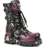 New Rock M.591 s.3 Womens Mens Black Leather Gothic Punk Rock Boots With Purple Flame 12