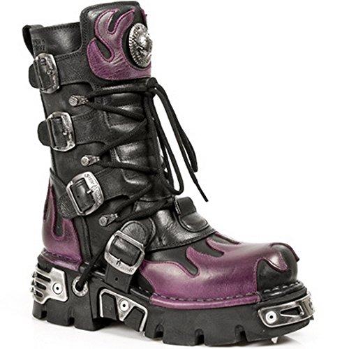 New Rock M.591 art.3 unisexe cuir noir gothique Punk Rock Bottes Avec Flamme Violet