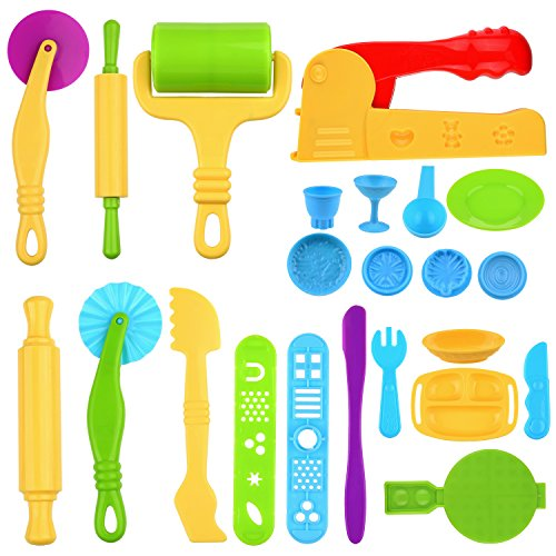 Kare & Kind Set of 23 pcs Smart Dough Tools Kit with Extruder Machine / Dough Tools / Models and Molds (Food, Silverware)
