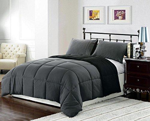 3 piece Luxury BLACK / GREY Reversible Goose Down Alternativ