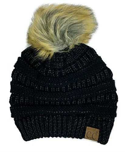 Ribbed Stretch Knit (Plum Feathers Soft Stretch Cable Knit Ribbed Faux Fur Pom Pom Beanie Hat (Black Metallic))