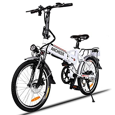 ANCHEER Electric Folding Mountain Bike Fat Tire E Bike 20 Inch Beach Snow Bicycles with 350W Brushless Motor and 48V SAMSUNG Battery 6 Shimano Speeds