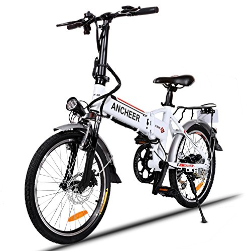 ANCHEER Folding Electric Bike with 36V 8AH Removable Lithium-Ion Battery with 250W Motor and Shimano 7 Speed Shifter (Folding-White)