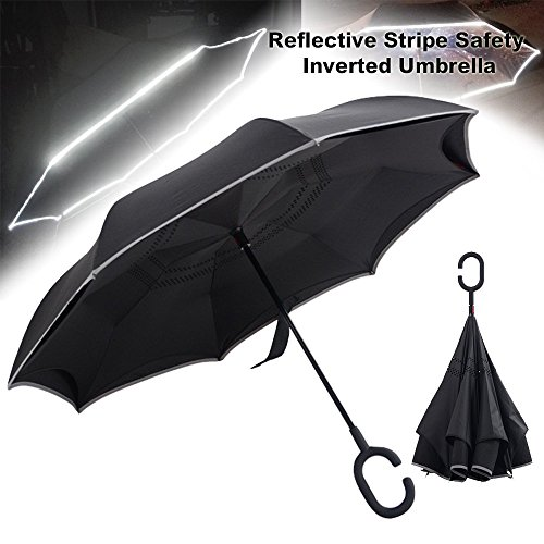 OutdoorWealth Double Layer Self-standing Inverted Umbrella with SOS Reflective Stripe Safety Car Reverse Folding Umbrella for Women & Men - Windproof Waterproof Auto