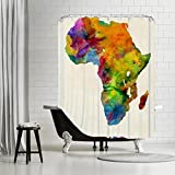 American Flat Africa Coloured Map Art Pause Shower Curtain by Michael Tompsett, 71'' x 74''