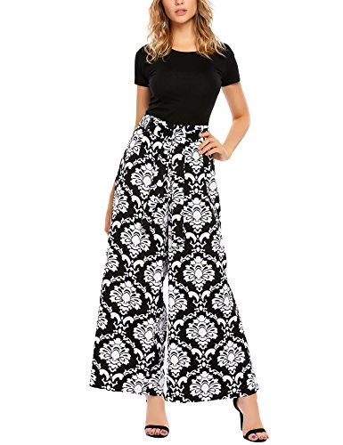 Miu Miu Red Bag - SE MIU Women's Wide Leg Belted High Waist Print Flowy Palazzo Pants,S