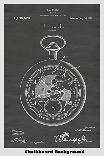 Pocket Watch Patent Print Art Poster: Choose From Multiple Size and Background Color Options (Face Pocket Watch Timepiece)
