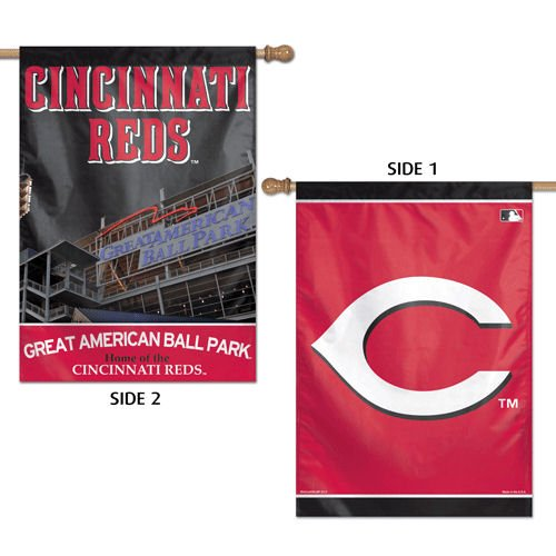 MLB Cincinnati Reds 2 Sided Vertical Flag, 28 x 40
