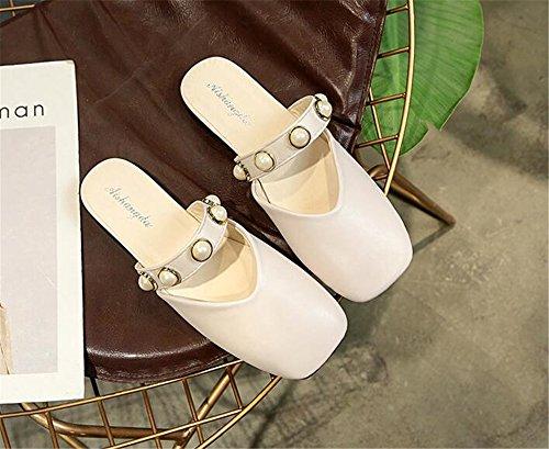 Sandals Sandals Sandals Women Dress Flat White PRETTYHOMEL Toe Womens Mule Slippers Slides Pointed X4zUP