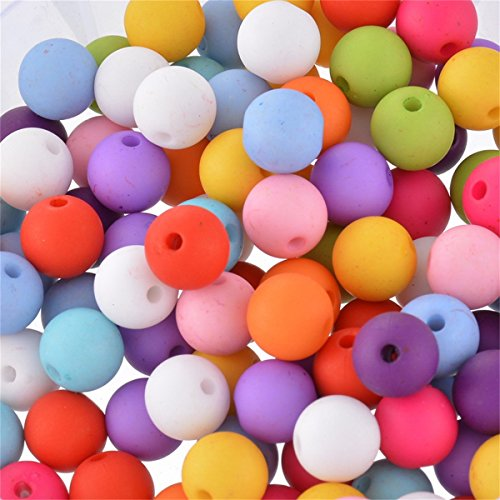 Yc 100pcs 10mm Mixed Round Acrylic Small Hole Beads