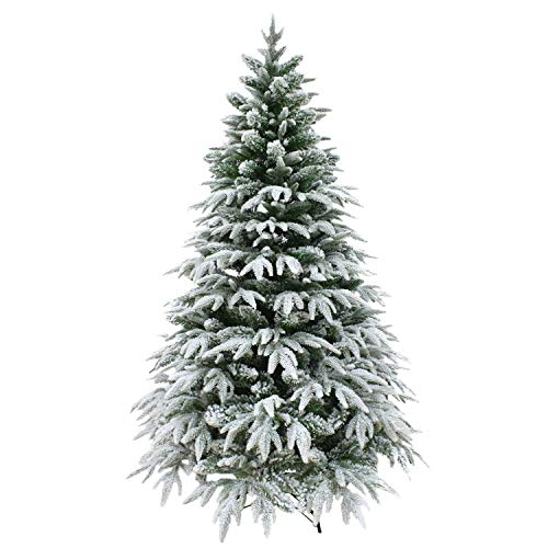 SHATCHI 10ft/3m Artificial Christmas Tree Covered Snow Flocked Mixed Tips Elegant Xmas Home Decorations 300cm, 10 Foot, Green (Uk Trees Christmas Pe)