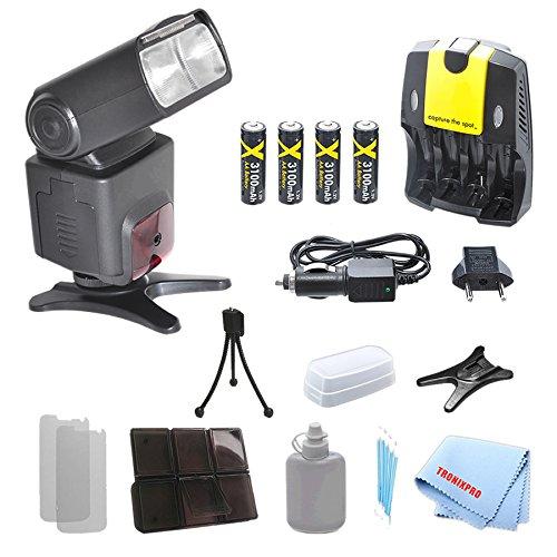 sb1010 Professional TTL Swivel Flash + 4充電式AA電池+ホーム/車充電器for Nikon d5000 , d5100 , d5200 , d5300 , d5500 , d7000 , d40 , d40 X , d50 , DF , d7000 and Moreモデル、with a complete starterキット   B00KZ1U0W2